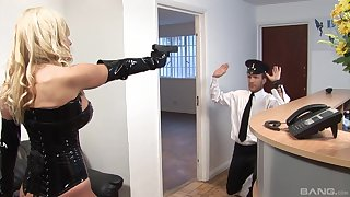 Leathered up Michelle Thorne gets brutally fucked by a policeman
