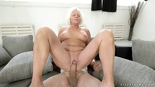 Dirty granny sits her shaved old pussy wind up b relax his dick